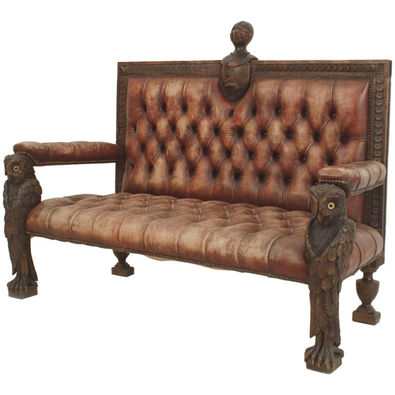 Rustic Continental 19th Century Walnut Carved Loveseat