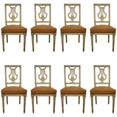 Set of Eight Swedish Painted Lyre Back Chairs with Leather Seats