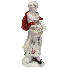Figure: Female Pedlar, Possibly Peg Woffington, Bow Porcelain, circa 1758