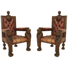 Pair of Rustic Continental Style Walnut Carved Armchairs