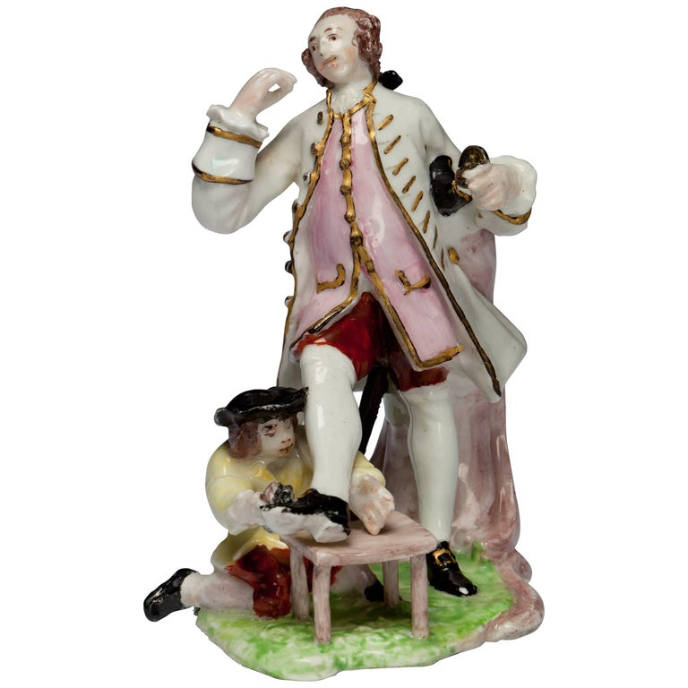 Figure: David Garrick and the Shoeshine Boy, Bow Porcelain, circa 1751