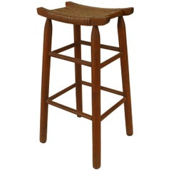 Set of 5 Rustic Old Hickory Style Pine Bar Stools