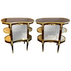 Pair of Louis XV Style Crotch Mahogany Vitrine Form End Tables or Night Tables