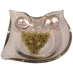 Rare Antonio Daros for Cenedese Murano Owl Sculptural Dish with Murrines