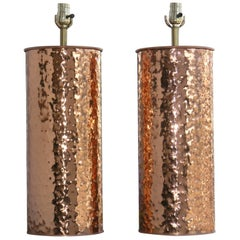 Large Pair of Mid-century Hammered Copper Lamps