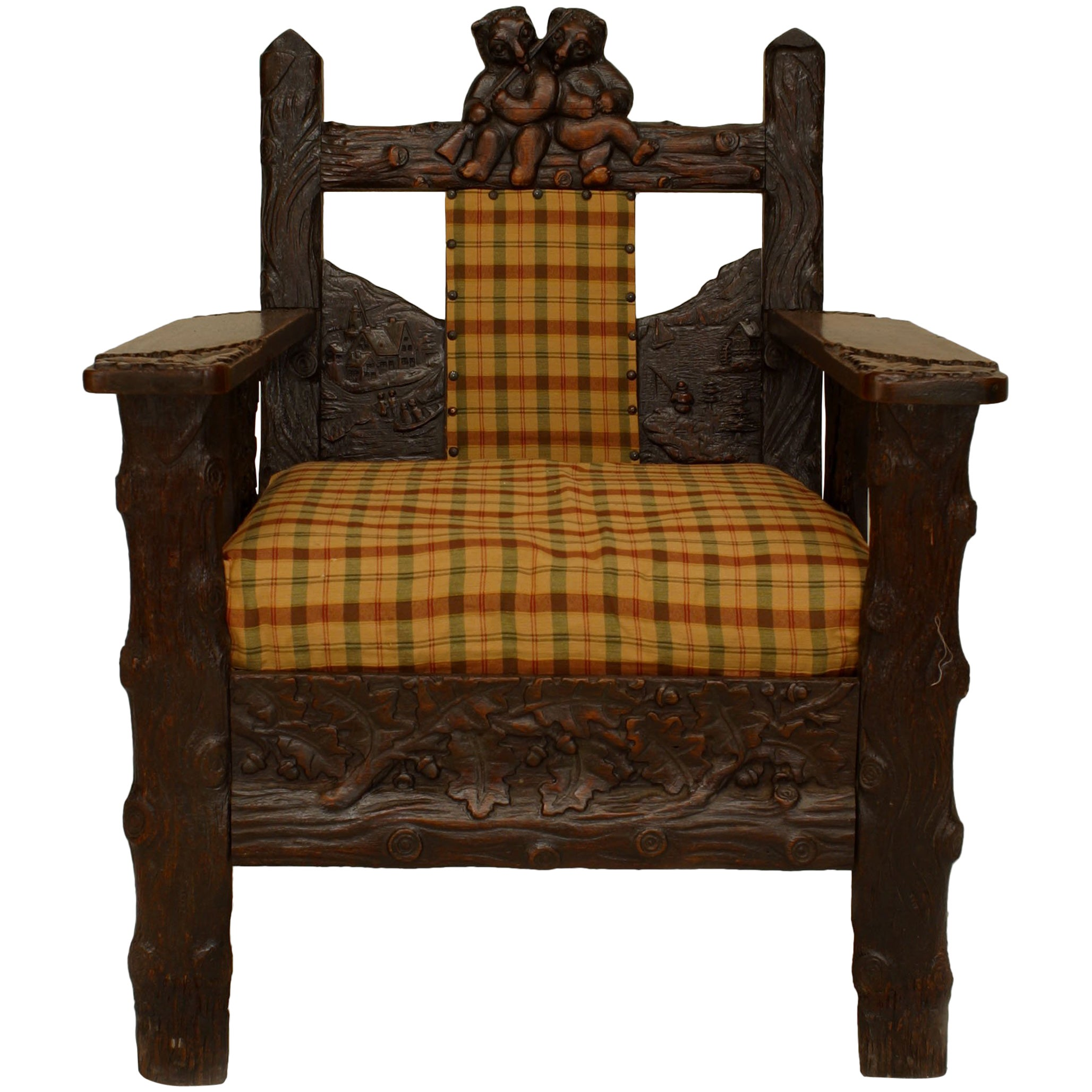 Rustic Black Forest Oak Armchair