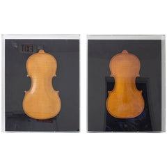 Set of Two Framed 19th Century Violin Backs