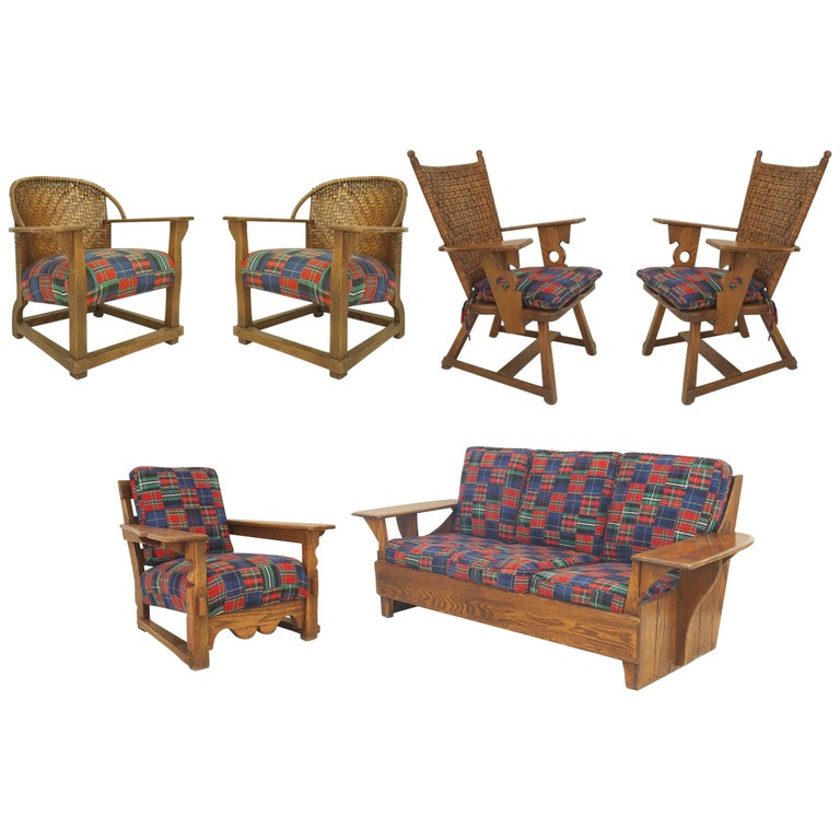 Six-Piece Rustic Old Hickory Mission-Style Living Room Set