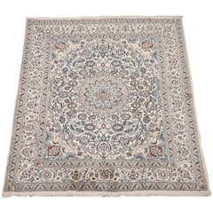 Ivory Wool and Silk Persian Naein Area Rug