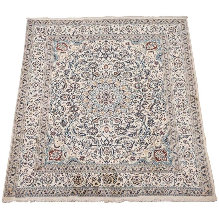Persian Rugs For Sale: Ivory Wool And Silk Persian Naein Area Rug For Sale At 1stdibs
