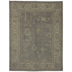 Modern Turkish Oushak Gray Rug with Transitional Style