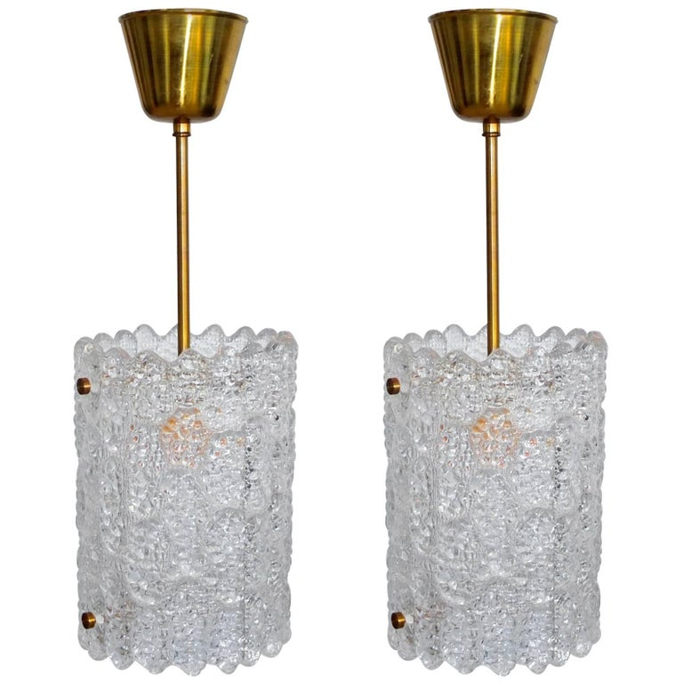 Pair of Crystal Pendant Lights by Carl Fagerlund for Orrefors 1
