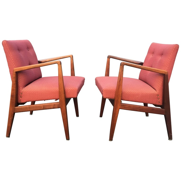 Two Gorgeous Jens Risom Sculptural Walnut Armchairs