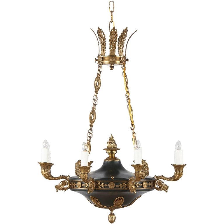 French Empire Style Green Tole and Bronze Chandelier, 1900s For Sale