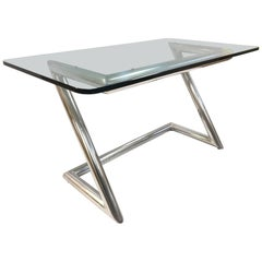 John Mascheroni Polished Aluminum and Glass Desk