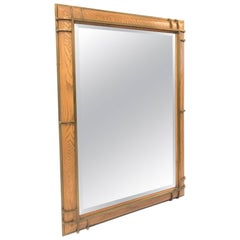 Henredon Oak and Bronze Trim Mirror