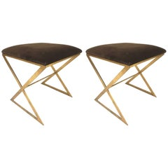 Pair of Hollywood Regency Gold Gild Iron X Benches