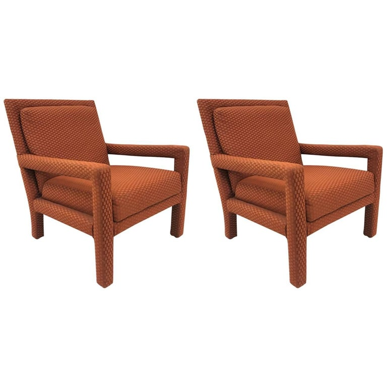Pair of Milo Baughman Style Parsons Chairs