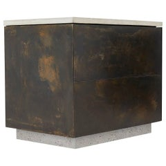 "Unique Patinated Steel, Cast-Concrete and Walnut ""SO Side Table"" with Drawers"