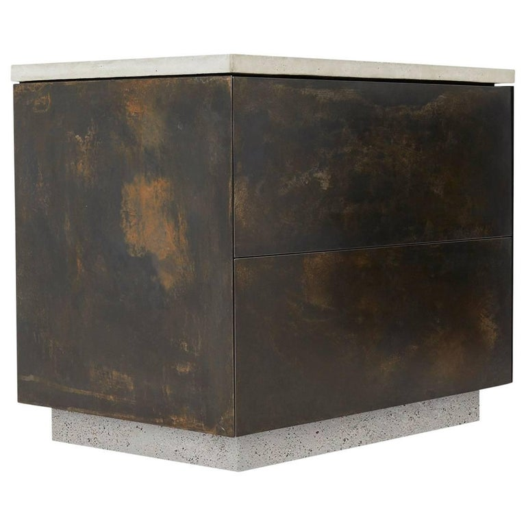 "Patinated Steel, Cast-Concrete and Walnut ""S.O. Side Table"" with Drawers"