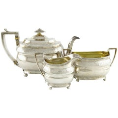 George III Sterling Silver Tea Set, London, 1805