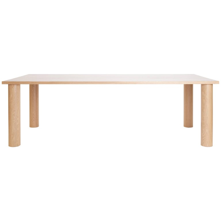 UNA Modern Dining Table with Column Legs in solid White Oak by Estudio Persona