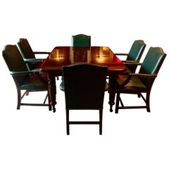 Antique Dining Table Ten Leather Dining Chairs Mahogany Extending Victorian 1850
