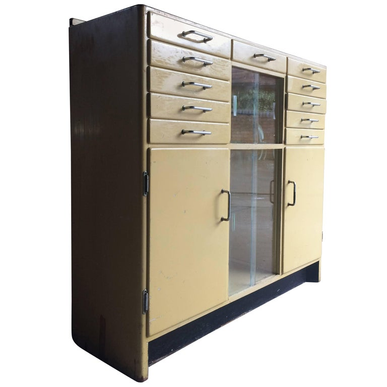 Dentists Storage Glass Metal Cabinets