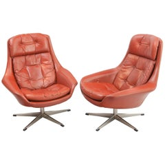 Norwegian Leather Swivel Armchairs by Henry Walter Klein, 1970