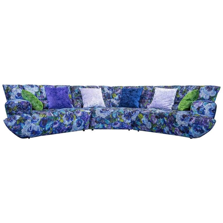 Bretz Cloud 7 Designer Cornersofa Blue Lilac Green Fabric Couch ...