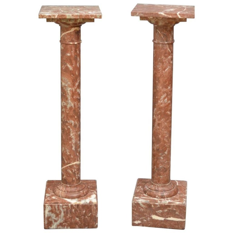 Pair of Turn of the Century Marble Columns