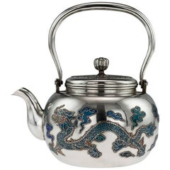 Antique Rare Chinese Export Solid Silver & Enamel Teapot, circa 1880