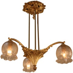 French, 1920s Bronze and Etched Glass Chandelier