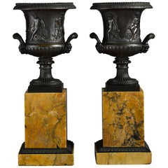 Pair of Early 19th Century French Neoclassical Bronze Urn on Marble Pedestal