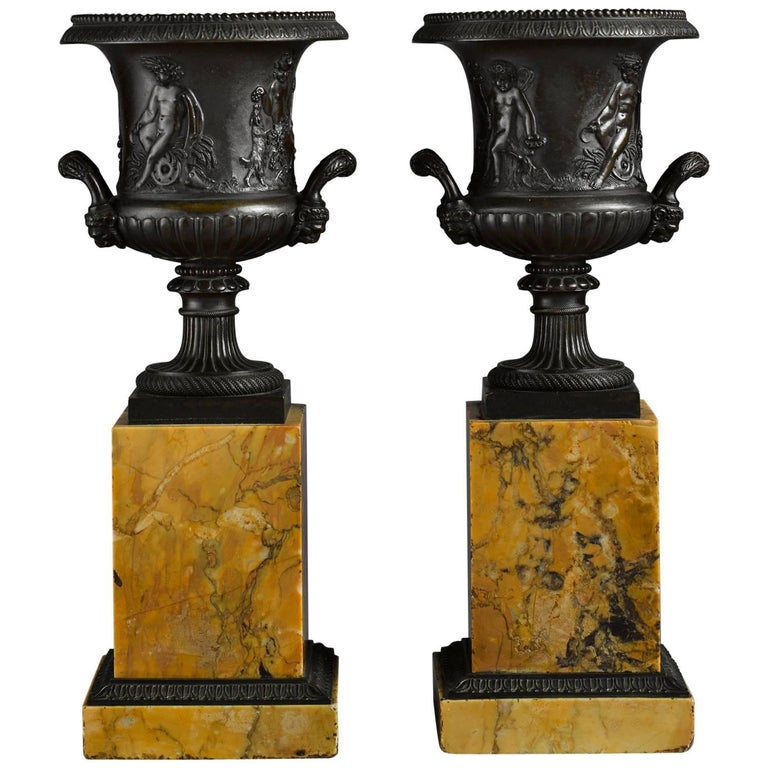 Pair of Early 19th Century French Neoclassical Bronze Urn on Marble Pedestal 1