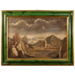 Italian Landscape with Architectures Painting Oil on Canvas, 18th Century