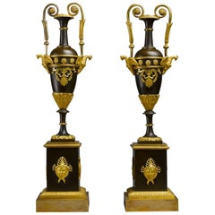 Pair of Early 19th Century, French Empire Ormolu Vases Attributed Thomire Galle