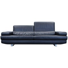 Ewald Schillig Harry Designer Sofa Leather Black Three-Seat Function Couch