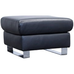 Ewald Schillig Harry Designer Footstool Leather Black One-Seat Function Couch
