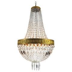 Italian Gilt Bronze and Cut-Glass Empire Style Chandelier 20th Century