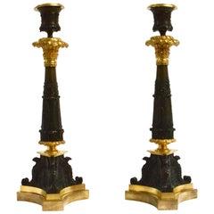 Pair of Gilt Bronze Empire Candlesticks, circa 1825