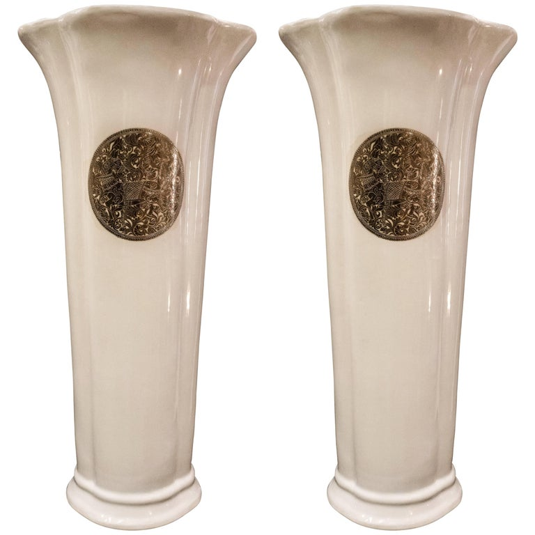 Fabienne Jouvin Midcentury White Flower Shaped French Porcelain