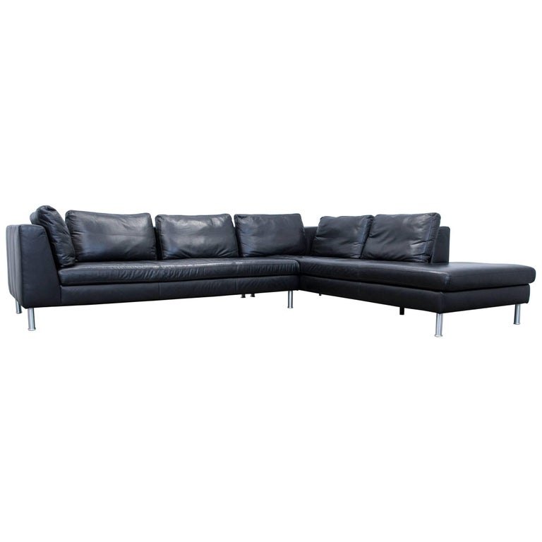 ewald schillig designer corner sofa leather black couch. Black Bedroom Furniture Sets. Home Design Ideas