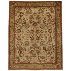Modern Turkish Oushak Rug with Traditional Style and Cloudband Design