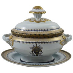 Italian Lowestoft Reproduction Created by Mottahedeh Porcelain Covered Tureen