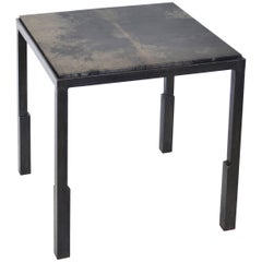 Handmade Modern Geometric Blackened Steel & Parchment Side Table by JM Szymanski