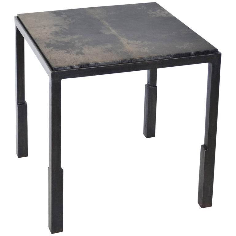 Handmade Modern Geometric Blackened Steel & Parchment Side Table by JM Szymanski For Sale