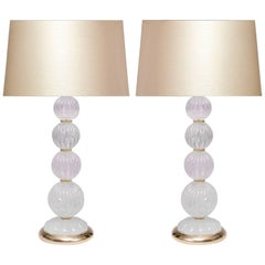 Pair of Contemporary Rock Crystal Quartz Lamps