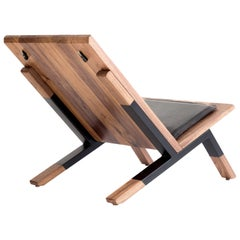 Contemporary Lounge Chair, Walnut, Powder-Coated Steel and Leather Cushion