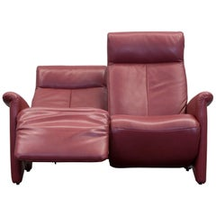 Marquard Leather Sofa Two-Seat Red Relax Function